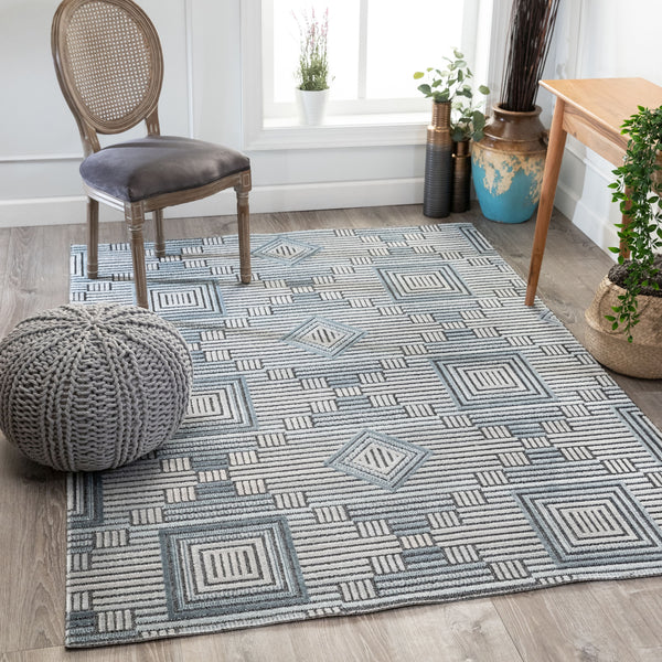 Logan Mid-Century Geometric Blue High-Low Rug