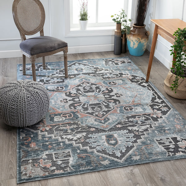 Zuri Vintage Medallion Blue High-Low Rug