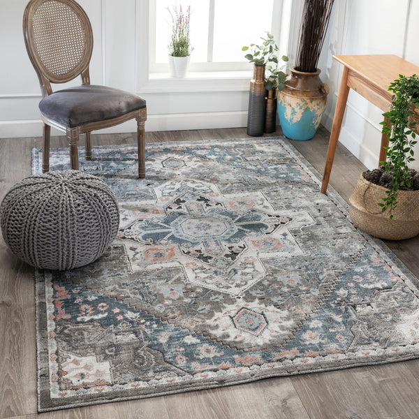 Lokit Vintage Medallion Grey High-Low Rug