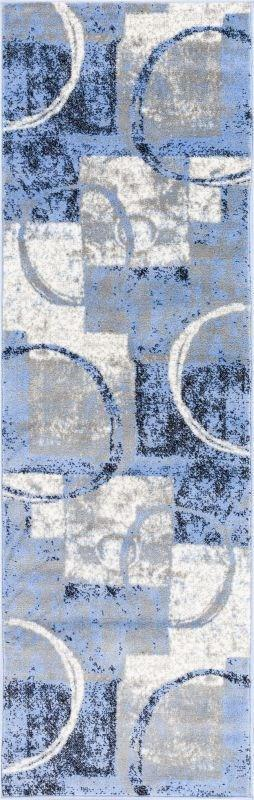 Spheres Watercolor Blue Modern Geometric Rug