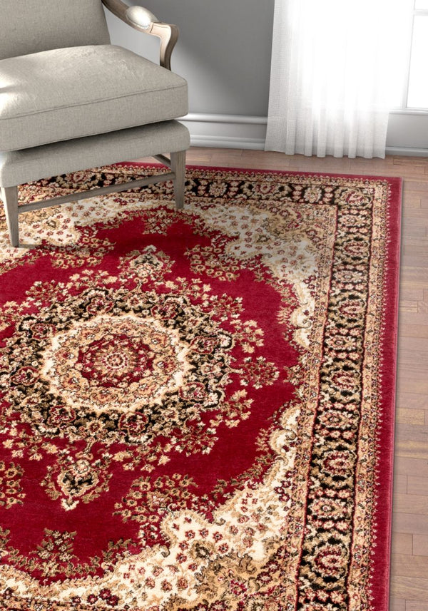 Mahal Traditional Orierntal Persian Medallion Red Rug