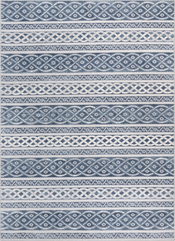 Ashley Tribal Geometric Blue High-Low Rug