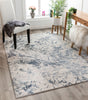 Winston Modern Abstract Paintsplash Light Grey High-Low Rug