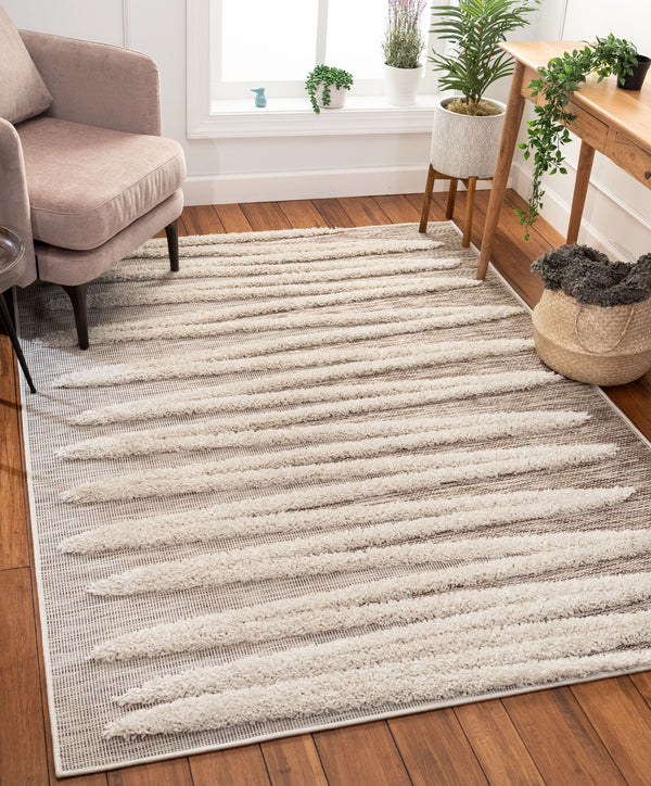 Brigida Coastal Geometric Beige High-Low Flat-Weave Rug