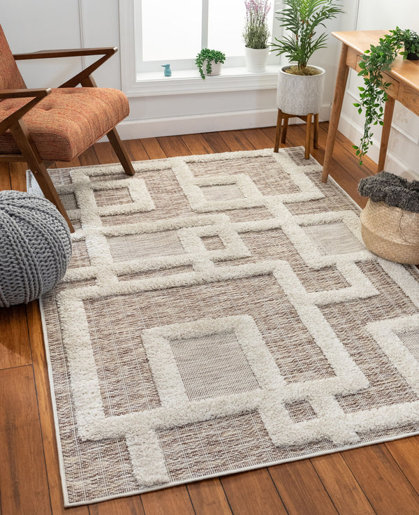 Elena Coastal Geometric Beige High-Low Flat-Weave Rug
