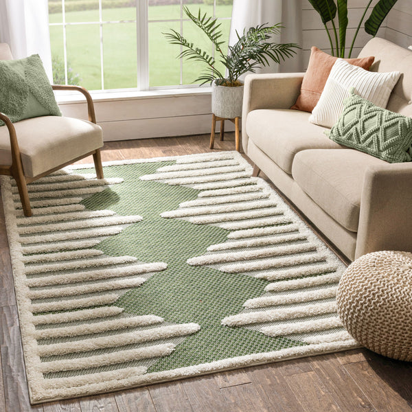 Luna Tribal Moroccan Diamond Pattern Green High-Low Flat-Weave Rug