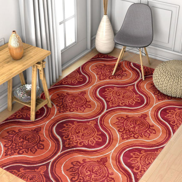 Damask-ly Orange Modern Geometric Rug