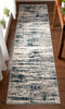 Ronan Modern Abstract Distressed Blue Rug