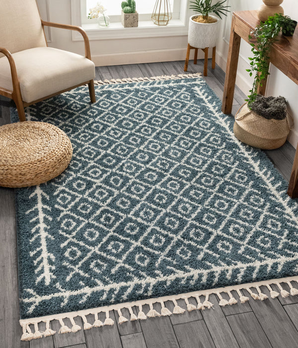 Agata Moroccan Geometric Shag Light Blue Rug