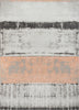 Fanos Modern Distressed Abstract Brush Strokes Salmon Grey Kilim-Style Rug