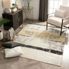 Fanos Modern Distressed Abstract Brush Strokes Yellow Grey Kilim-Style Rug