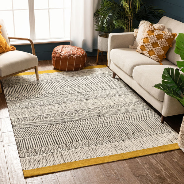 Largo Modern Abstract Geometric Pattern Gold Kilim-Style Rug