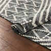 "Kapa Contemporary Geometric Chevron Stripes Grey Kilim-Style 5'3"" x 7'3"" Rug"