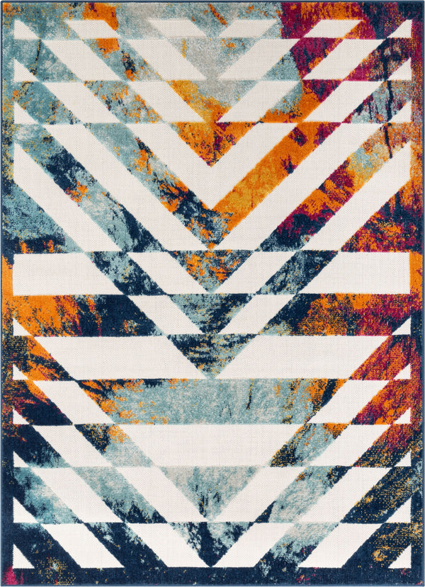 Carmen Geometric Chevron Bold Multi-Color Multi Indoor/Outdoor High-Low Rug