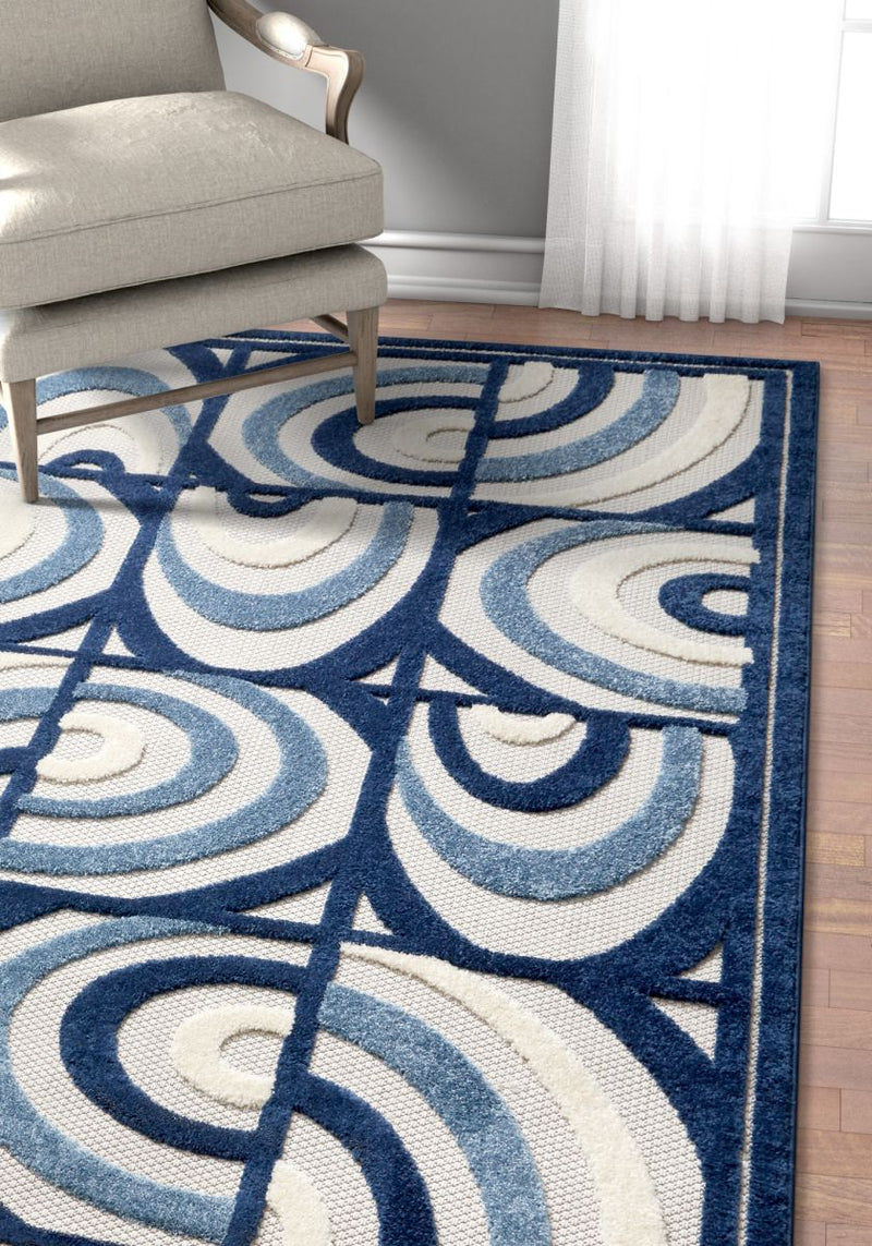 Lucente Blue Modern Indoor Outdoor Rug