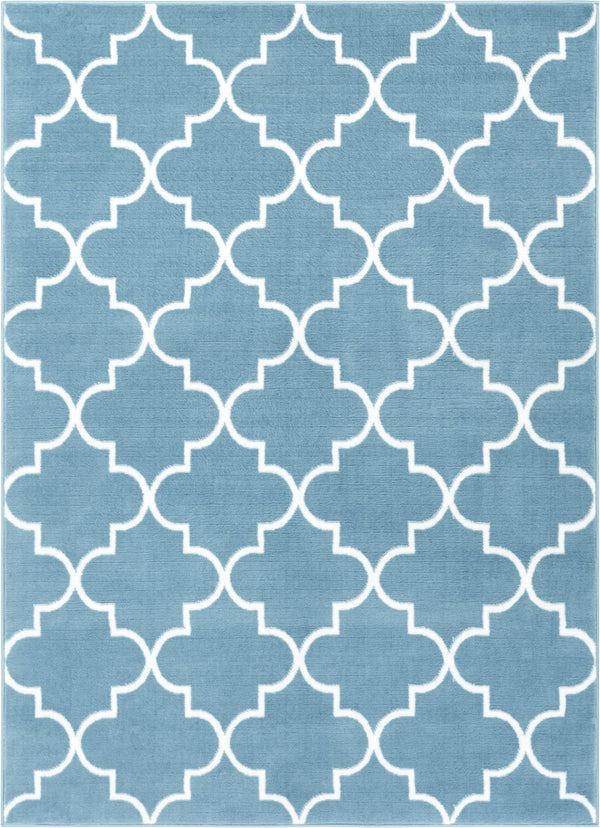 Elle's Lattice Blue Modern Rug