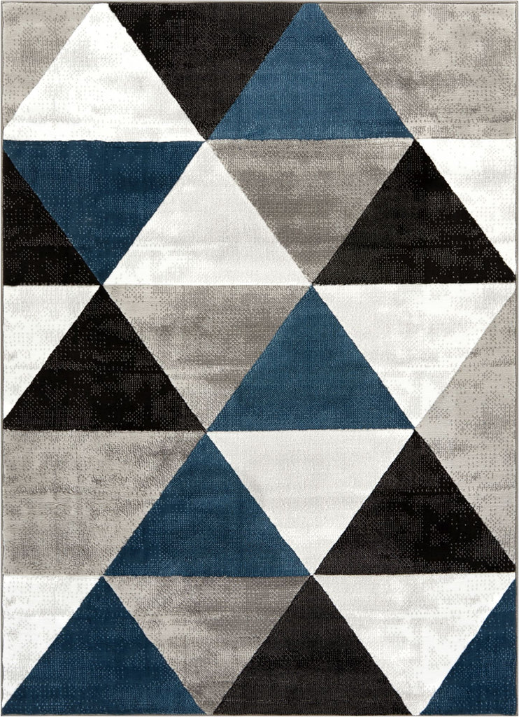 Retro Shapes Blue Modern Rug