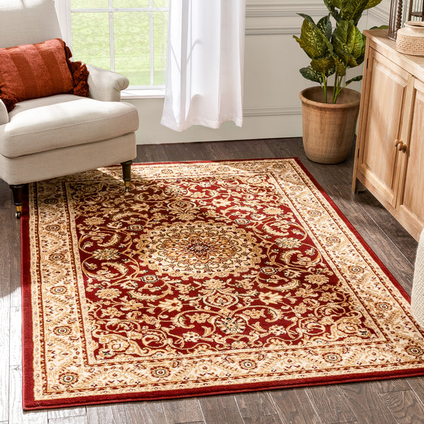 Mykonos Traditional Oriental & Persian Red Rug