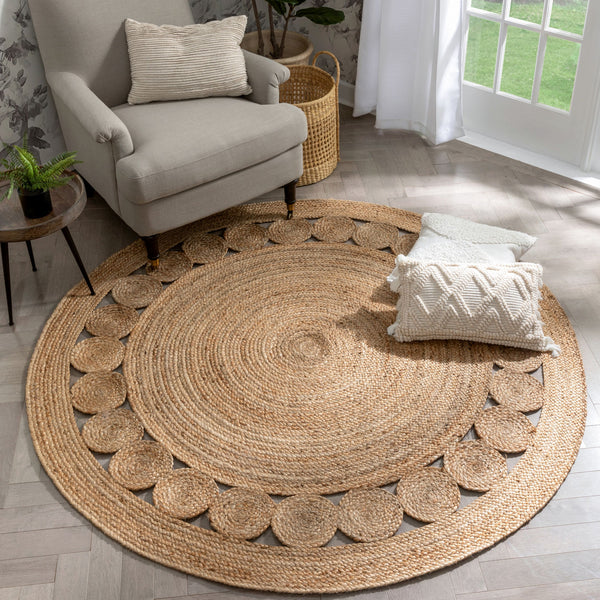 Oleana Farmhouse Jute Rug Hand-Woven Basket Weave Jute Rug Geometric Pattern Natural Color