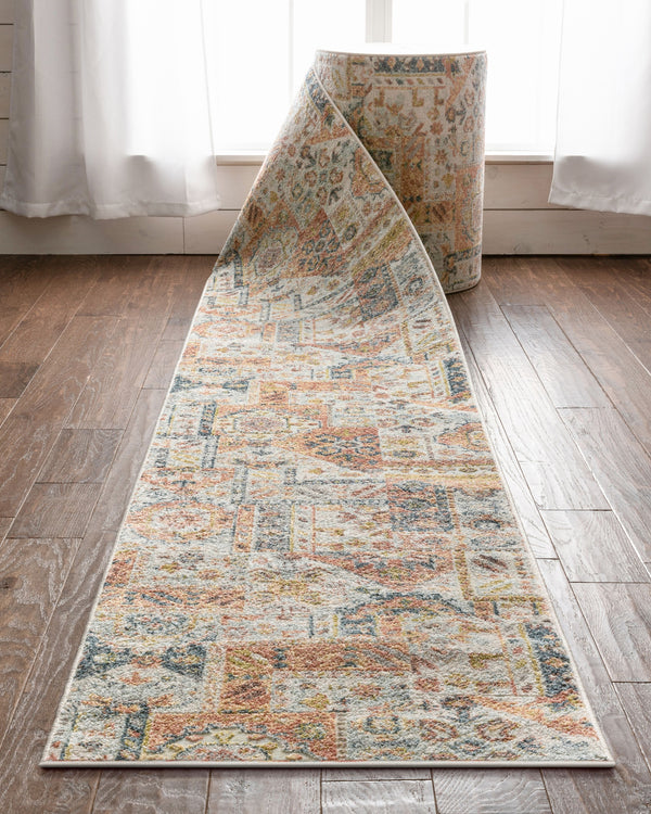 Adilah Custom Size Runner Vintage Tribal Pattern Ivory Multi 27 Inch Width x Choose Your Length Hallway Runner Rug