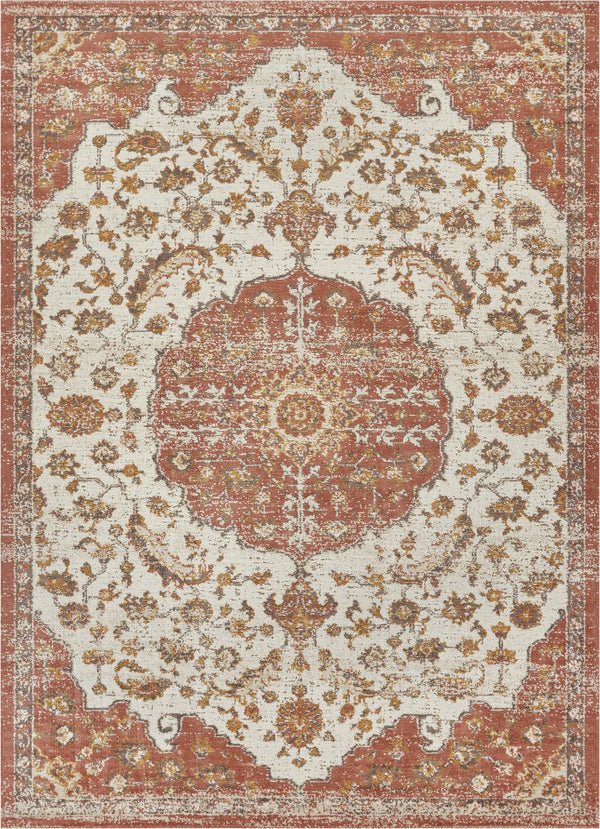 "Ana Brick Traditional 7'10"" x 9'10"" Area Rug"