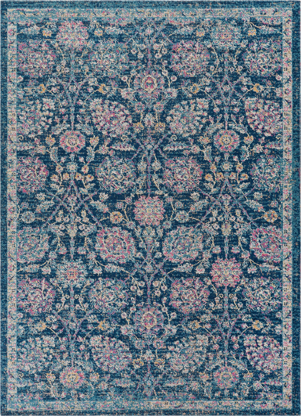 "Wixby Blue Traditional 5'3"" x 7'3"" Area Rug"