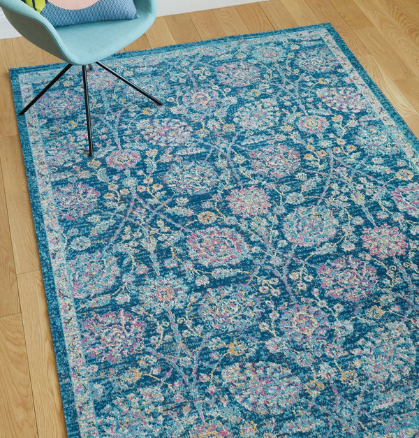 "Wixby Blue Traditional 7'10"" x 9'10"" Area Rug"