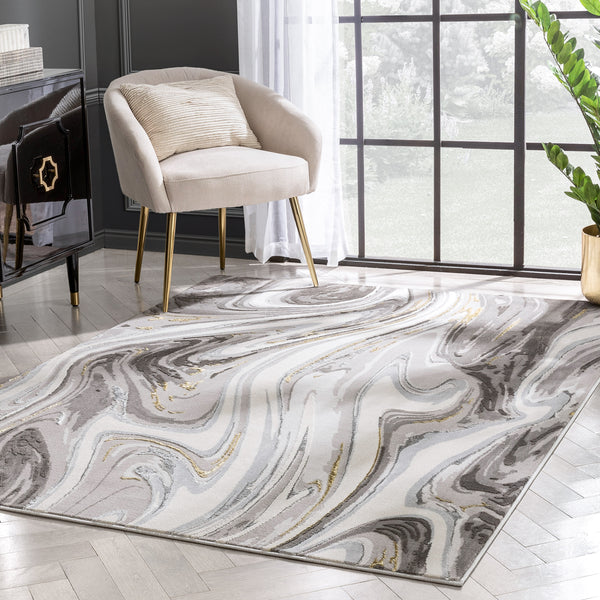 Beckley Contemporary Abstract Waves Ivory Glam Rug