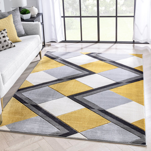 Nora Gold Modern Geometric Stripes 3D Textured Rug