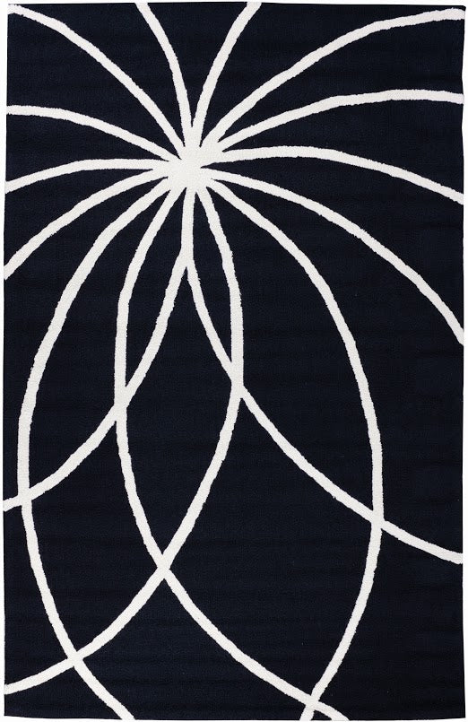 "Swirls and Spirals Black Modern 5' x 7'6"" Rug"