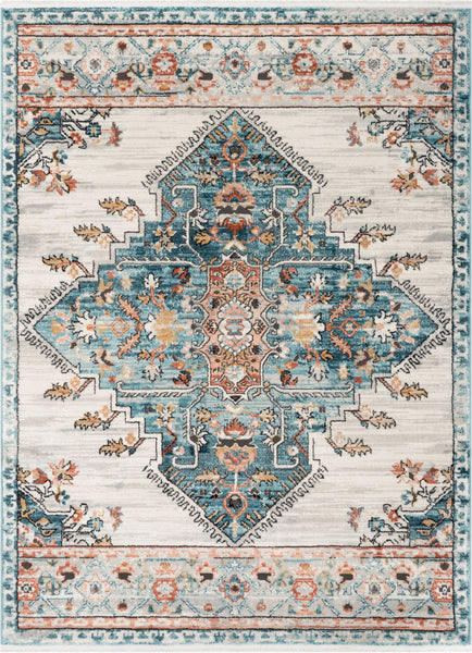 Manor Vintage Bohemian Medallion Oriental Blue Rug Well Woven
