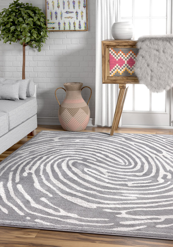 Delightful Grey Modern Microfiber Rug By Chill Rugs