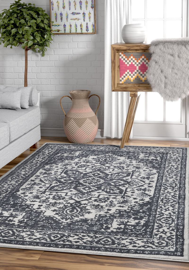 Dazzling Light Grey Vintage Microfiber Rug