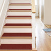 "Warby Modern Burgundy Non Slip 9"" x 31"" Stair Tread (Set of 7)"