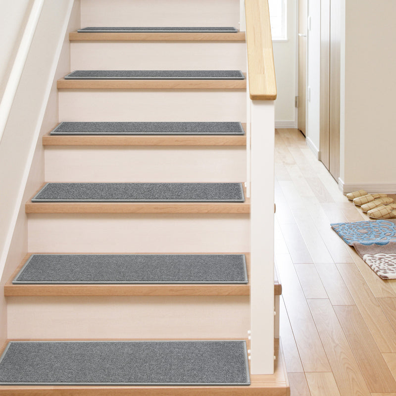 "Warby Modern Grey Non Slip 9"" x 31"" Stair Tread (Set of 7)"