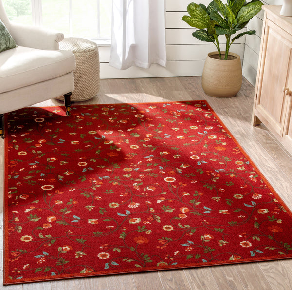 Judith Transitional Botanical Floral Red Non-Slip Machine Washable Low Pile Indoor/Outdoor Rug