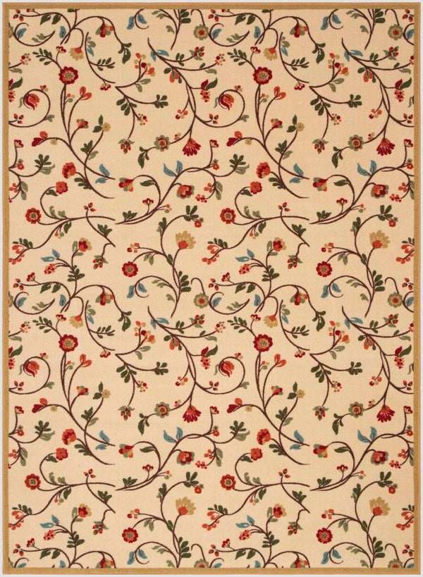 Judith Transitional Botanical Floral Ivory Non-Slip Machine Washable Low Pile Indoor/Outdoor Rug