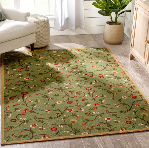 Judith Transitional Botanical Floral Green Non-Slip Machine Washable Low Pile Indoor/Outdoor Rug
