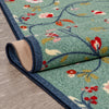 Judith Transitional Botanical Floral Light Blue Non-Slip Machine Washable Low Pile Indoor/Outdoor Rug