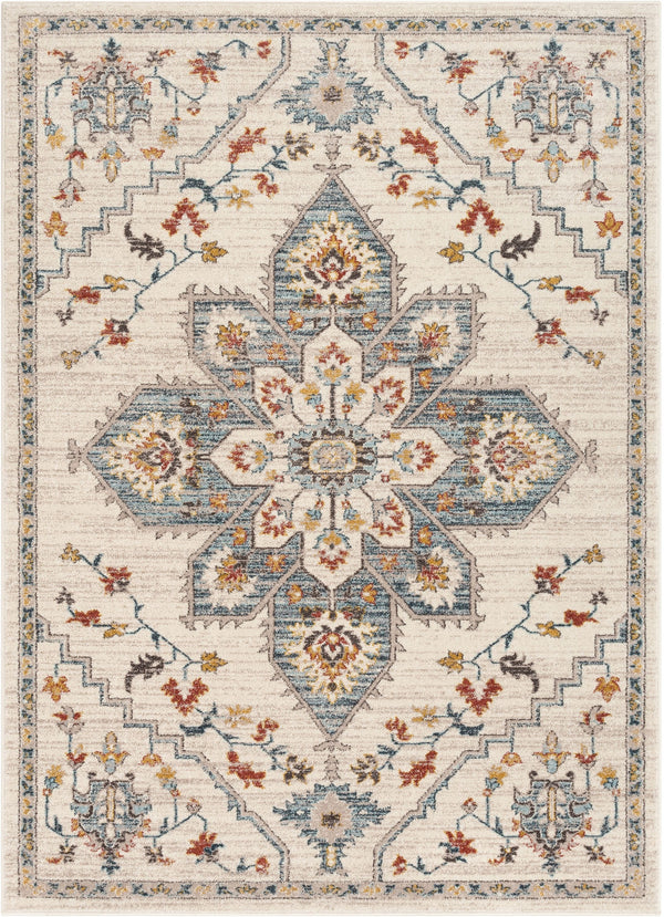 Bingley Traditional Medallion Pattern Ivory Farmhouse Rug By Cotton Stem