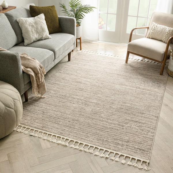 Turin Modern Abstract Striation Beige Kilim-Style Rug