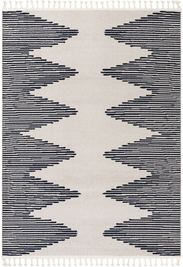 Zipped Tribal Aztec Geometric Ivory & Navy Blue Kilim-Style Rug