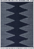 Zipped Tribal Aztec Geometric Dark Blue Kilim-Style Rug