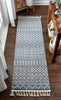 Covina Tribal Geometric Diamond Denim Blue Kilim-Style Rug