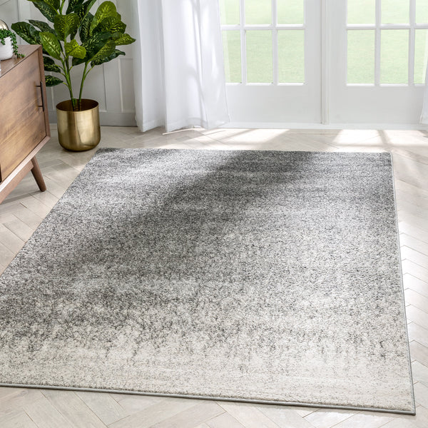 Madia Industrial Solid & Striped Distressed Grey Rug