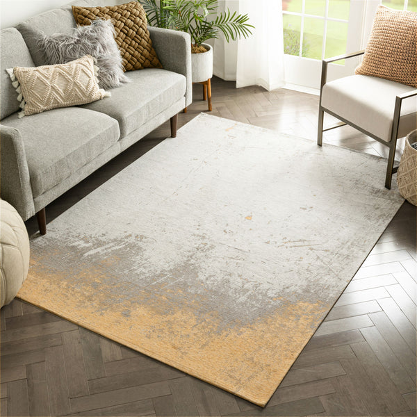 "Napio Modern Distressed Abstract Brush Stroke Grey Kilim-Style 5'3"" x 7'3"" Rug"