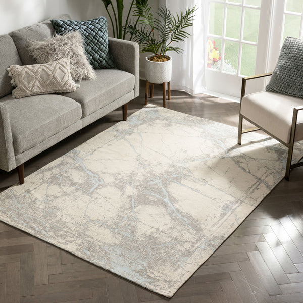 Forio Contemporary Distressed Marble Pattern Beige Kilim-Style Rug