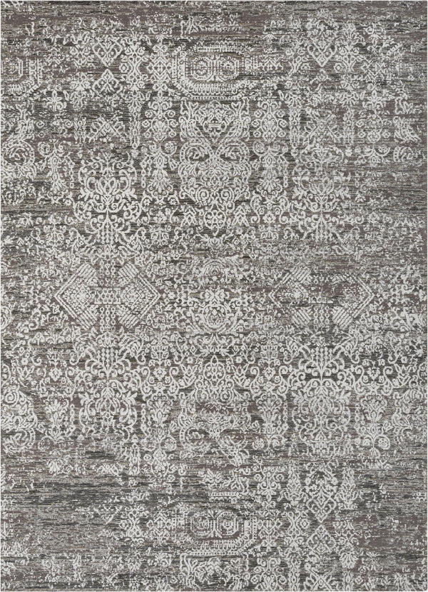 Cantu Vintage Distressed Damask Pattern Black Kilim-Style Rug