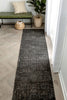 Jesi Vintage Distressed Damask Pattern Black Kilim-Style Rug