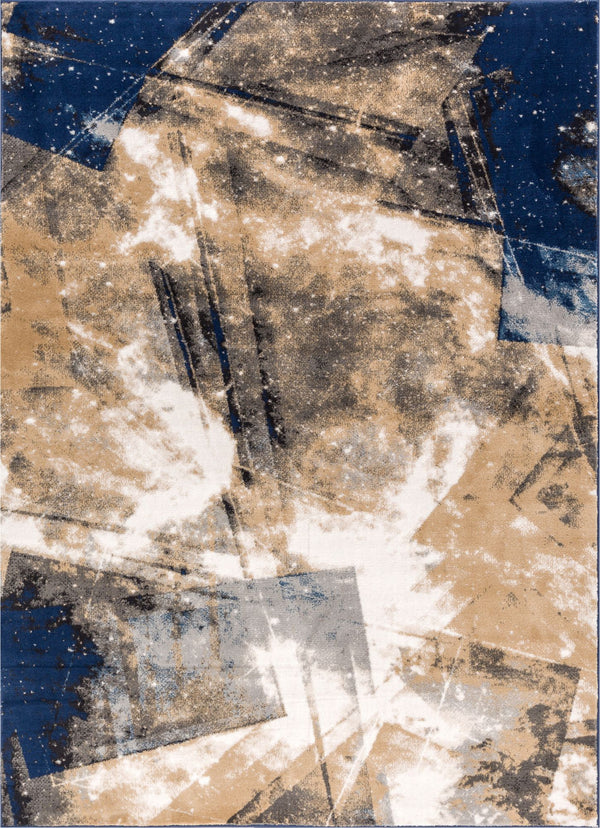 Planetary Blue Modern Space Rug